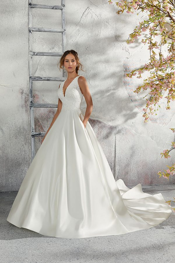 Mori Lee sleeveless designer bridal gown