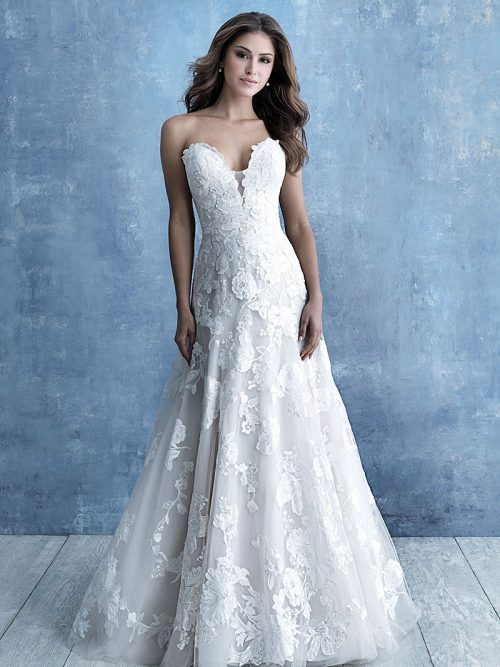 9708 Allure Bridals scale floral appliques Wedding-Dress