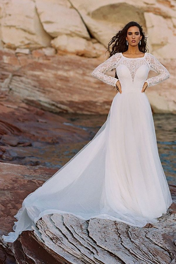 Lace Sleeves Wedding-Dress F187 Wilderly-Bride