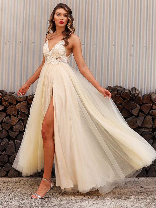 JX3004-Champagne Jadore Bridesmaid Dress